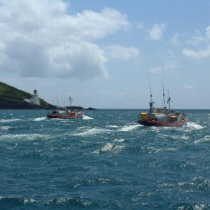 Lifeboats leaving Falmouth Harbour.